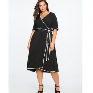 Eloquii Black Wrap Midi Dress